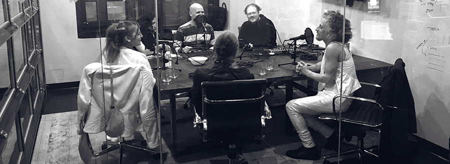 the american fashion podcast team recording the threeasfour interview May 9th, 2016
